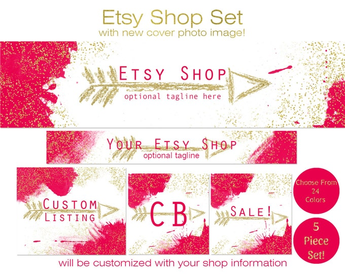 ETSY SHOP BRANDING Package - Choose Your Font and Colors - Cover Photo Banner Icon Paint Metallic Gold Confetti & Arrow Premade Shop Set