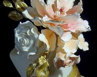 Vintage Peony ROSES and Leaves CAKE TOPPER Arrangement