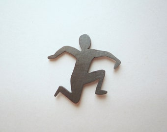 Flat sterling silver running person lapel pin, Running shadow brooch, Hand sawed figure jewelry, Flat black silver pin