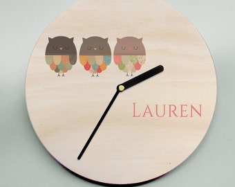 Owl Clock / Nursery Clock / Children's Clock / Mr Wolfe Clocks / Wooden Wall Clock / Kids Clock / Personalised Clock / Personalized Clock