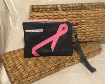 Handmade Black leather wristlet with pink ribbon