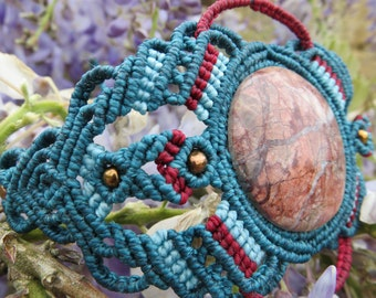 Blue and Bordeaux Macrame bracelet with Blood Agate