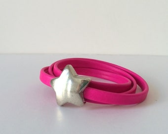 Bracelet pink fluor with star