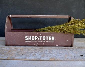 Vintage Metal Shop Toter Carryall - Garage Tool Tote - Man Cave Tool Tote - Shop Toter - Vintage Tool Tote - Mid Century Modern Tool Tote