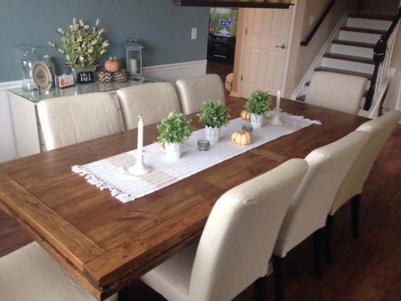 Triple Pedestal Farmhouse Table with Leaf by GirlyBuilds on Etsy