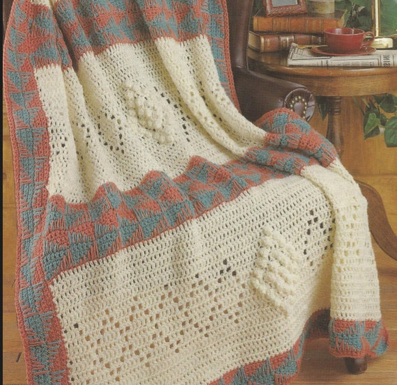 Crochet Pattern For Lap Afghan : crochet afghan Santa Fe with Diamond Pattern lap blanket