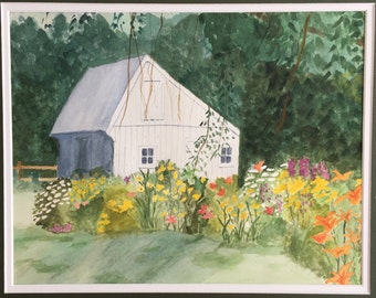 Country garden, original 17x15 watercolor painting