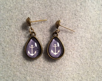 Blue background with white Anchor cabochon earrings