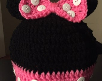 Crochet Pink or Red Minnie Mouse Beanie, Hat (Any size)
