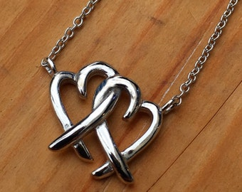 Plain Double Heart Necklace 925 / Sterling Silver