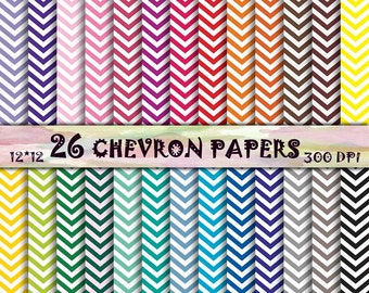 Chevron Scrapbook Paper 26 Chevron Digital Paper Zig Zag Lines Geometrical Digital Paper Chevron pattern Instant download Chevron textures