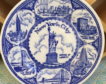 Vintage New York City Souvenir Plate featuring NYC Landmarks