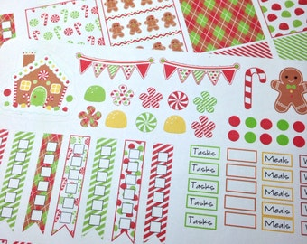 Candy Christmas Weekly Planner Stickers for Erin Condren and other vertical AND horizontal planners