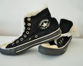 Vintage Converse Boots / Sneakers / Warm inside/ Winter / Felted / Fall / Black / Retro / All Star / Mens 6,5 / Womens 8,5 / Suede / Shoes