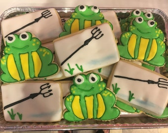 Frog giggin' theme Decorated Cookies