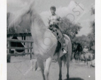 Reno 2 - 1956 - labeled - horses -  Vintage Snapshot - 1940s 1950s
