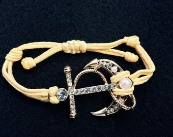 Gold Anchor cord bracelet