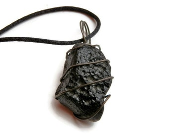 Space jewelry. Meteor Tektite Pendant wrapped in galvanized steel. Out of this world OOAK gift idea for the science geek. Unisex jewelry.