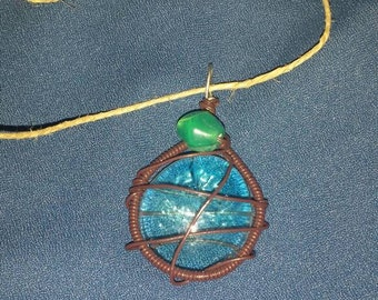 Blue and brown glass necklace