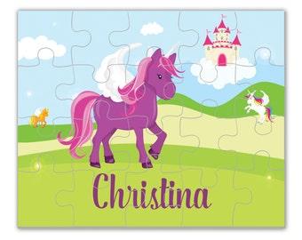 Personalized Unicorn Puzzle - Purple Unicorn Puzzle, Magical Fairytale Unicorn Puzzle, You pick Unicorn - Kids Personalized Gift under 20