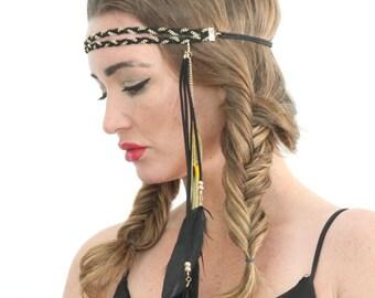 Braided chain bohemian, feather headband, hair chain.