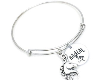Magical Unicorn Charm Bracelet    hand stamped   mythical creature   handmade