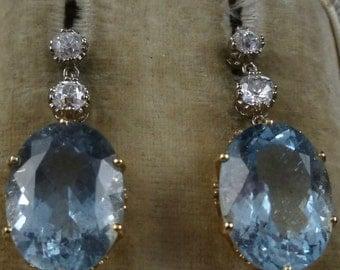 Antique Aquamarine & Diamond 18ct Long Earrings