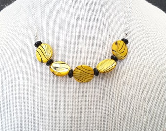 Yellow Shell Disc Necklace