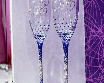 CRYSTAL wedding glasses, Set of 2, Crystals, Custom Made Glasses