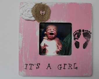 It's A Girl Picture Frame, Pink Photo Frame, New Baby Frame, Foot Print Photo Frame