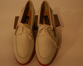 Pierre Cardin White Leather Boat Shoes with Red Rubber soles. Size 8.5M