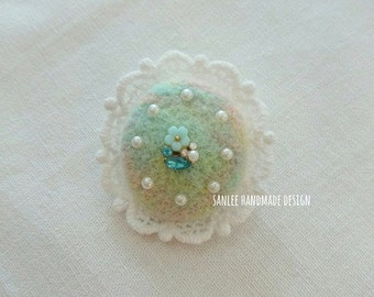 Flower and Dawn needle felted brooch, pin