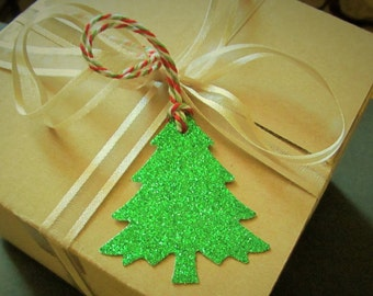 4 ct Christmas Green Glitter Tree Die Cuts - Christmas Tags -  Holiday Gift Tags - Glitter Sparkle Trees - Punched Hole w/Bakers Twine