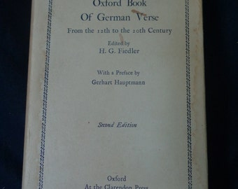 The Oxford Book of German Verse - Hardcover with DJ, Second Edition 1957 reprint