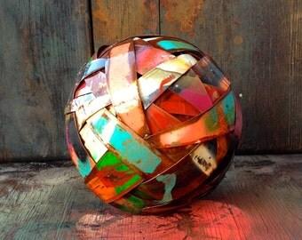 Peace Ball,sculpture,metal art,metal sculpture,metal sphere,sphere,ball,contemporary art,garden art,home decor,abstract art,yard art
