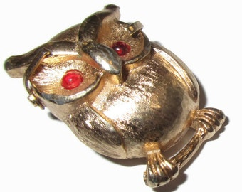 Owl Brooch, Vintage Figural Pin, Gold Tone, 1980s, Retro Jewelry, Bird