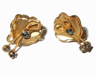 Rhinestone Earrings, Vintage Sapphire Flower Clip Earrings,  Gold Tone, B.N.,  Signed Mid Century Jewelry, 1950s, Prong Set
