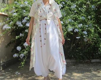 Sarouel en coton blanc de broderie anglaise