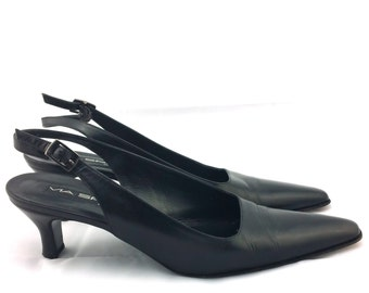 VIA SPIGA Vintage Black Pumps Slingback heels Sling back kitten heel shoes