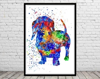 Dachshund, watercolor Dachshund, Dachshund print, home decor, watercolor print dog, animal art, Dachshund dog
