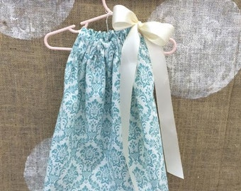 This little white with aqua demask print dress is perfect for a summer dress, light and airy 6 to 12 months