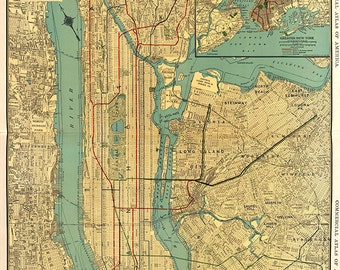 Manhattan, New York City vintage reproduction map.  1922.  Commercial Map of Manhattan and Business of Bronx, Brooklyn and Jersey City