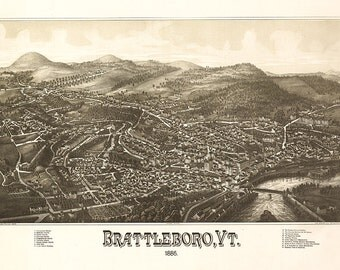 Map of Brattleboro, Windham Co., Vermont VT. 1886. Vintage restoration hardware home Deco Style old wall reproduction.