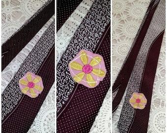 Restyled Tie~ Pink Flower