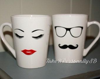 His and Hers coffee mugs eyelashes lips tea cup mustache black frame glasses cup coffee mug set