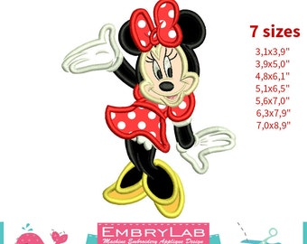 Applique Minnie Mouse. Machine Embroidery Applique Design. Instant Digital Download (16259)