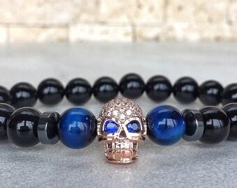 Rose Gold Plated Skull Bracelet, Mens Skull Bracelet, Man Bracelet, Bracelet For Men, Gold Skull Bracelet, Tiger Eye Bracelet, Man Skull