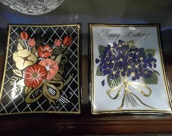 2 intage Ashtrays/-Adorable Happy Birthday & Flowers...