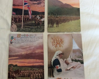 "Vintage Set of 4 WWI Sweet Heart Postcards. ""stand up for jesus"" Bamforth Series No 4966.  Dated From Around the 1910's."