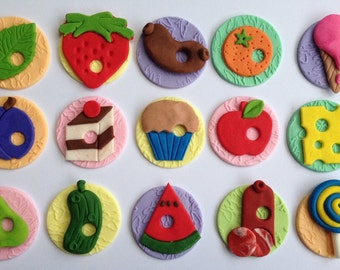 16 edible HUNGRY CATERPILLAR cupcake toppers decorations fruit CAKE party wedding anniversary birthday